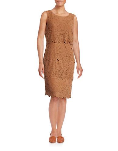 Chetta B Tiered Laser-Cut Faux Suede Dress-BIEGE-10