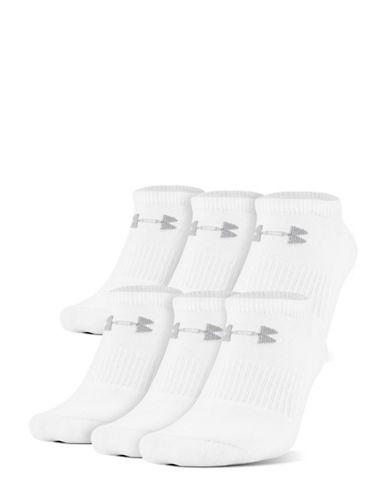 Under Armour Six-Pack Charged Cotton 2.0 No Show Socks-WHITE-10-12 89847063_WHITE_10-12