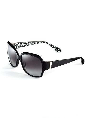 Diane Von Furstenberg Anna Square Plastic Sunglasses - Black