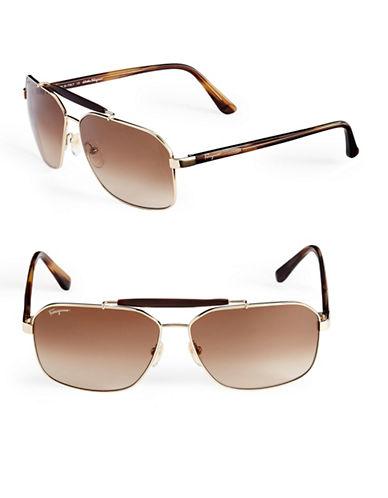 Ferragamo SF107S Square Aviator Sunglasses-GOLD-One Size