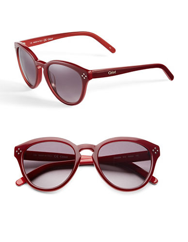 Chloé Small Studded Round Sunglasses-BORDEAUX / RED-One Size