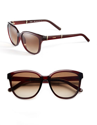 Chloé Rounded Wayfarer Sunglasses-RED-One Size