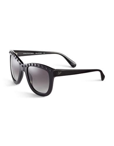 Diane Von Furstenberg Studded Round Sunglasses-BLACK-One Size