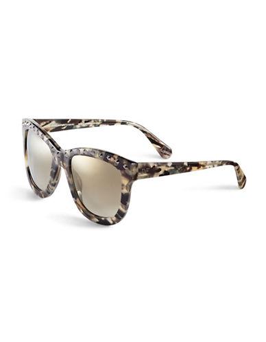 Diane Von Furstenberg Studded Round Sunglasses-BLACK MARBLE-One Size
