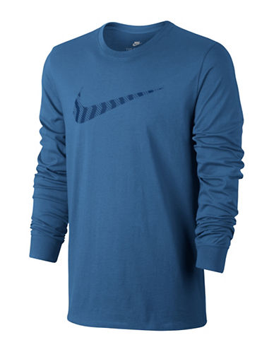 Nike Swoosh Cotton Sweater-BLUE-Medium