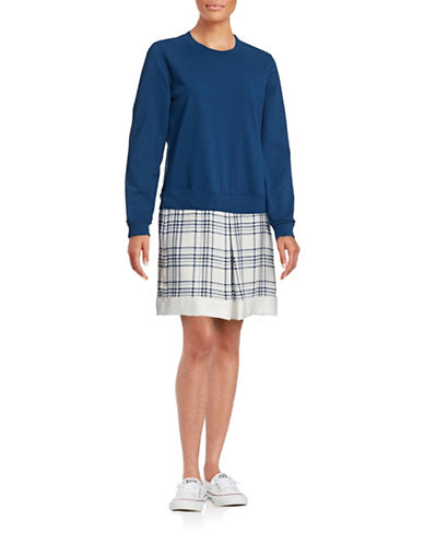 Clu Plaid Sweatshirt Dress-NAVY-Small