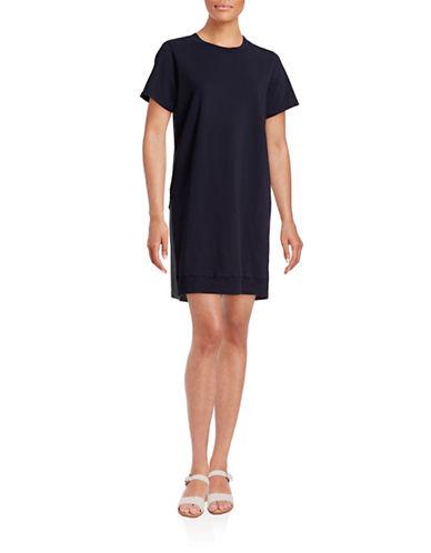 Clu Plaid Back T-Shirt Dress-NAVY-Small