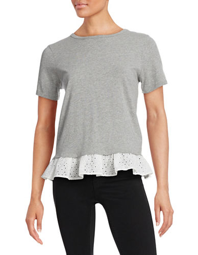 Clu Ruffled Hem T-Shirt-GREY-X-Small