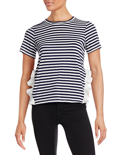 Clu Striped Side Ruffle Tee-NAVY-X-Small