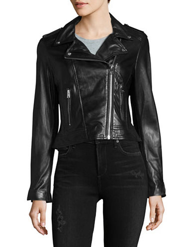 Lamarque Donna Leather Biker Jacket-BLACK-Small