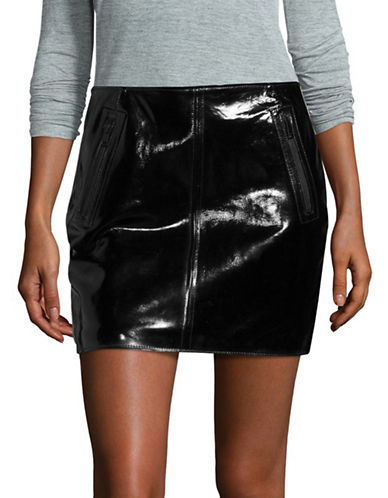 Lamarque Haze Patent Leather Mini Skirt-BLACK-2