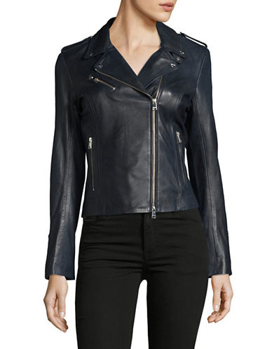 Lamarque Harper Leather Biker Jacket-BLUE-Medium 89364466_BLUE_Medium