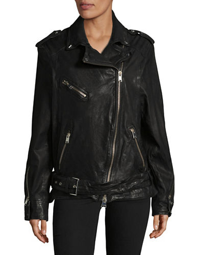 Lamarque Devon Boyfriend Leather Moto Jacket-BLACK-Medium