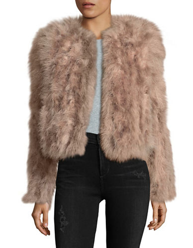 Lamarque Feather Shrug Jacket-PINK-Large