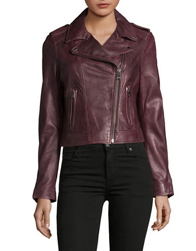 Lamarque Donna Leather Biker Jacket-RED-Large 89364452_RED_Large