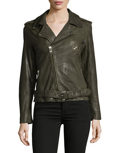 Lamarque Kiyoshi Belted Leather Biker Jacket-GREEN-Large