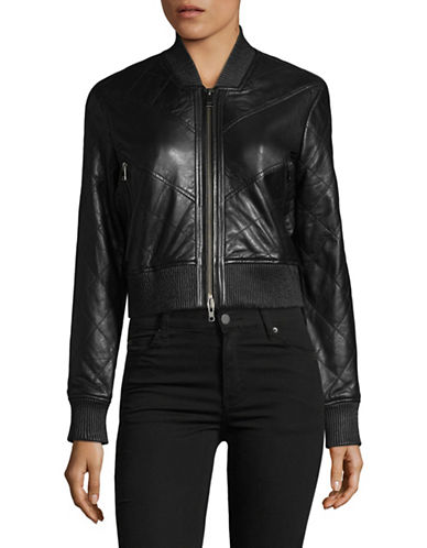 Lamarque Darby Crop Leather Bomber Jacket-BLACK-Large
