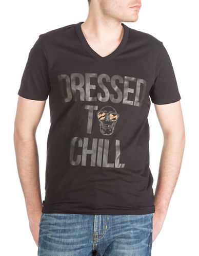 Guess Short Sleeve Dressed To Chill V-Neck Tee-BLACK-X-Large 88380827_BLACK_X-Large