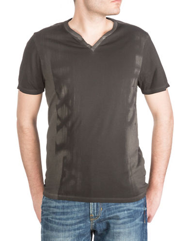 Guess Paint Logo Printed V-Neck T-Shirt-BLACK-Large 88380935_BLACK_Large