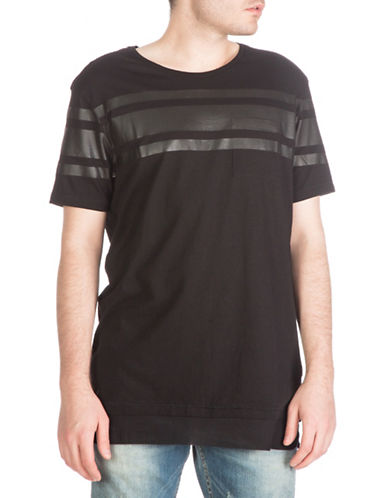 Guess Athletic Striped Longline T-Shirt-BLACK-Small 88404479_BLACK_Small