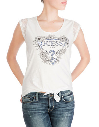Guess Floral Logo Tie T-Shirt-WHITE-Large 88472572_WHITE_Large