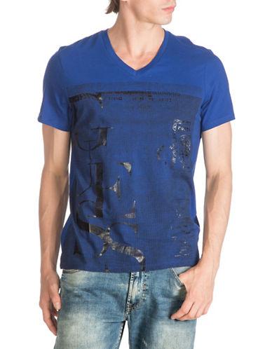 Guess Passport V-Neck T-Shirt-BLUE-Large 88474296_BLUE_Large