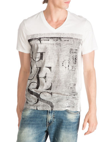Guess Passport V-Neck T-Shirt-WHITE-Medium 88474291_WHITE_Medium