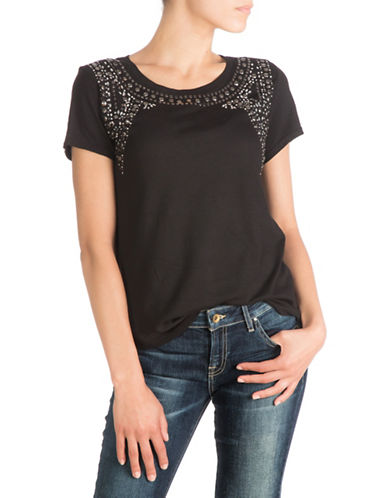 Guess Embellished T-Shirt-BLACK-X-Small 88528776_BLACK_X-Small