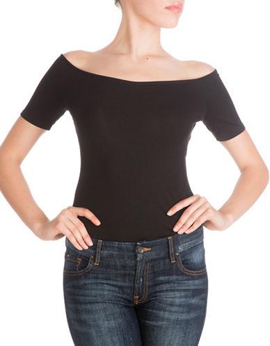 Guess Off-Shoulder Cut-Out Top-BLACK-Medium 88472632_BLACK_Medium