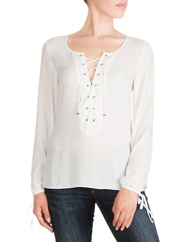 Guess Long Sleeve Lace-Up Top-WHITE-X-Small 88472544_WHITE_X-Small