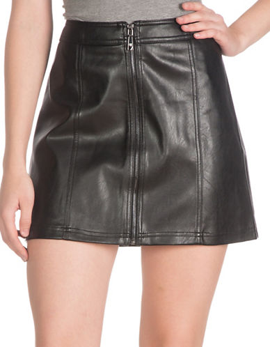 Guess Denise Faux-Leather Miniskirt-BLACK-4 plus size,  plus size fashion plus size appare