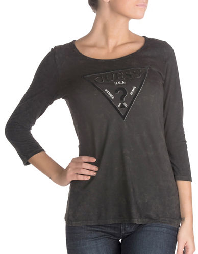 Guess Three-Quarter Sleeve Flocked Logo Tee-BLACK-Medium 88752628_BLACK_Medium