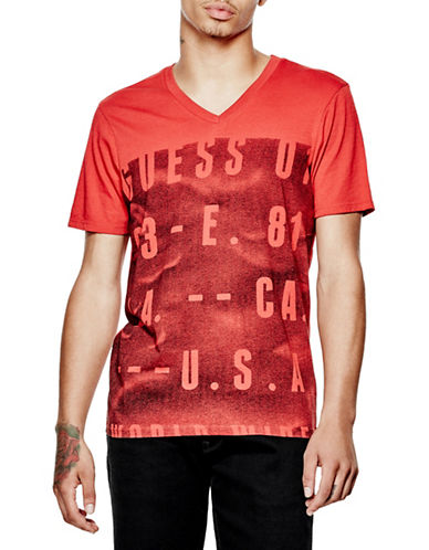 Guess Oversize Logo V-Neck T-Shirt-RED-X-Large 88559943_RED_X-Large