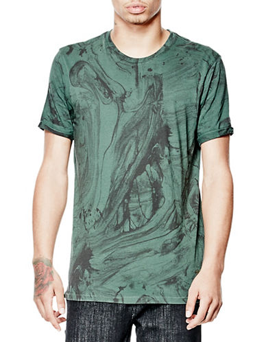 Guess Marble Print Crew Neck Tee-GREEN-Large 88559957_GREEN_Large