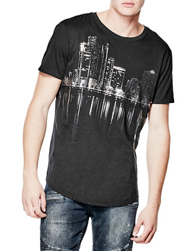 Guess City Lights Longline Tee-BLACK-X-Large 88560084_BLACK_X-Large