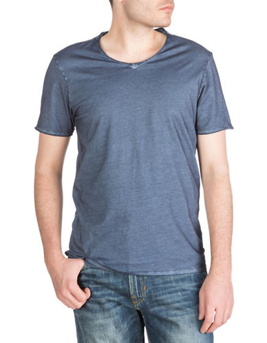 Guess Oil-Wash V-Neck T-Shirt-INDIGO-Small
