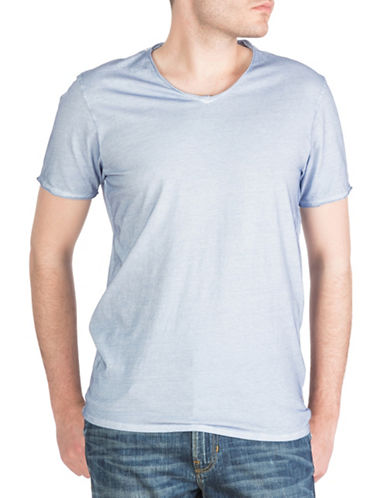 Guess Oil-Wash V-Neck T-Shirt-BLUE-Large
