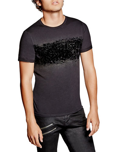Guess Distressed Crew Neck Tee-BLACK-Small 88559965_BLACK_Small