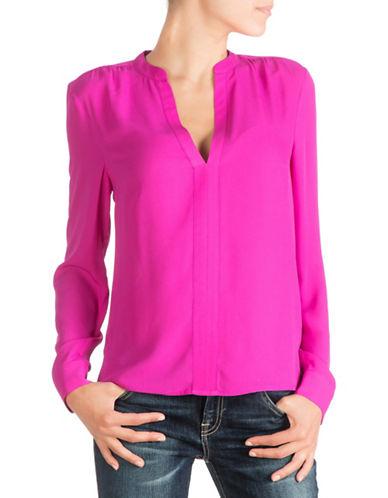 Guess Jenalyn Long-Sleeve Draped-Back Top-PINK-Medium 88528773_PINK_Medium