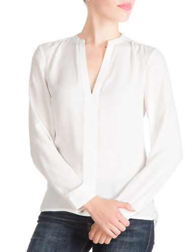 Guess Jenalyn Long-Sleeve Draped-Back Top-WHITE-X-Small 88528766_WHITE_X-Small