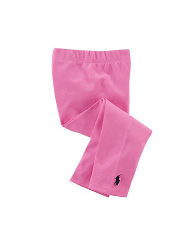 Ralph Lauren Childrenswear Solid Stretch Leggings-PINK-24 Months