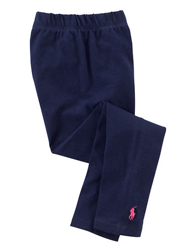 Ralph Lauren Childrenswear Black Stretch Cotton Legging with Pony Player-NEWPORT NAVY-3T