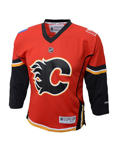 Reebok Calgary Flames Child Premier Replica Home Jersey-RED-One Size