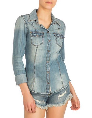 Guess Fiddle Wash Slim Fit Denim Shirt-BLUE-Medium
