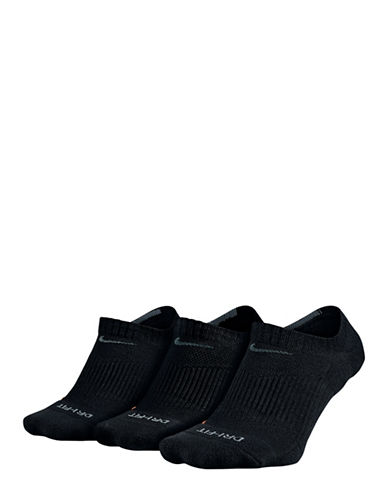 Nike Three-Pack Dri-FIT Cushion No Show Socks-BLACK-Large