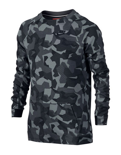 Nike Tech Crew Neck Camo Print Sweatshirt-DARK GREY-14-16 88567020_DARK GREY_14-16