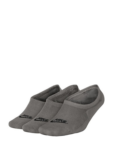 Nike Womens Three-Pack Sportswear Cotton Footie Socks-GREY-Medium 90093688_GREY_Medium