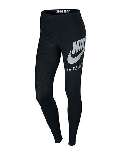 Nike Dot Print Reflective Logo Leggings-BLACK-Medium 88911457_BLACK_Medium