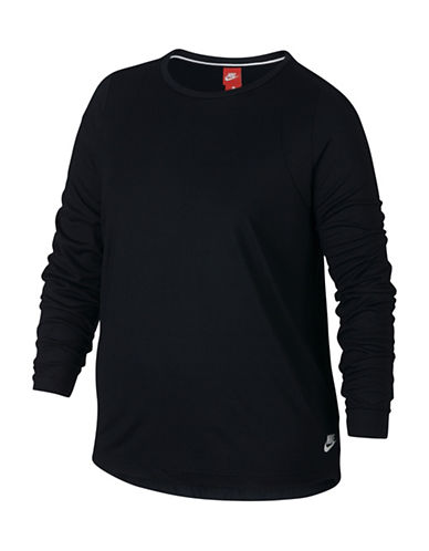 Nike Sportswear Essential Long-Sleeve Top-BLACK-3X