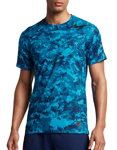 Nike Pro Hypercool Camo Printed Tee-BLUE-XX-Large 89157241_BLUE_XX-Large